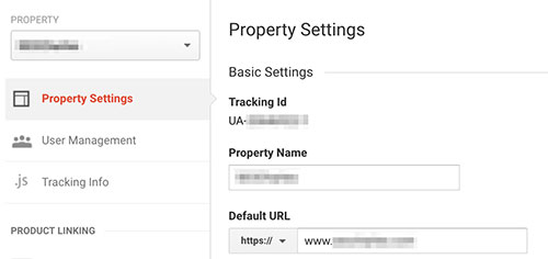 GA property settings