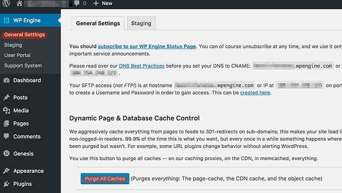 WPEngine purge caches